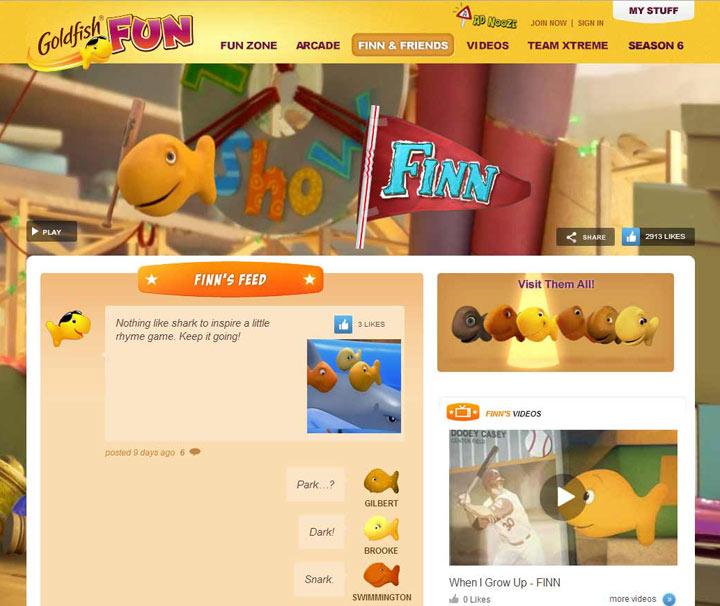 Pepperidge Farm Goldfish Kids Site Updates